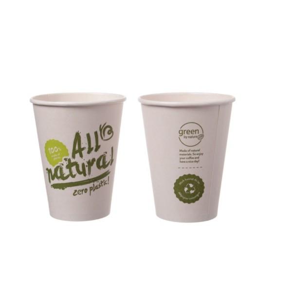 Bio-Kaffeebecher Singlewall 8oz, 0,20 l, Ø 80 mm, 1.000 Stk, All natural, kompostierbar
