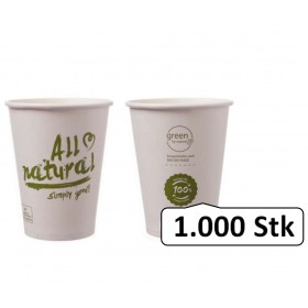 Bio-Kaffeebecher Singlewall 8oz, 0,20 l, Ø 80 mm, 1.000 Stk, PLA beschichtet, All natural, kompostierbar