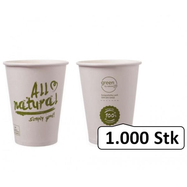 Bio-Kaffeebecher Singlewall 8oz, 0,20 l, Ø 80 mm, 1.000 Stk, PLA beschichtet, All natural, kompostierbar