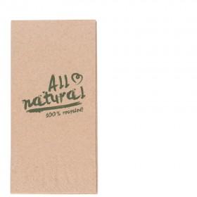 Servietten braun, 33er, 1/8 Falz, 2-lagig, 2.000 Qualitäts-Servietten, Recyclingzellstoff, umweltfreundlich, reißfest