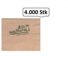 Servietten braun, 24er, 1/4 Falz, 2-lagig, 4.000 Qualitäts-Servietten, Recyclingzellstoff, umweltfreundlich, reißfest