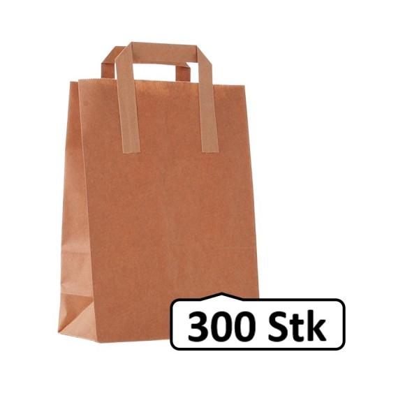 Papiertüten, Papiertaschen, Papiertragetaschen braun, flacher Henkel 300 Stück, umweltfreundlich