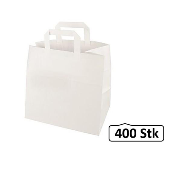 Papiertüten, Papiertaschen, Papiertragetaschen weiß, flacher Henkel 400 Stück, umweltfreundlich