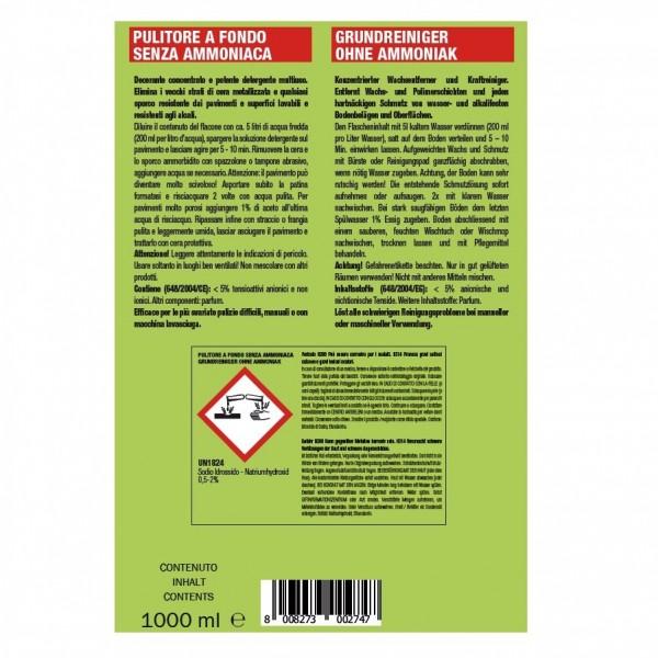 Hochkonzentrierter, sehr ergiebiger alkalischer Profi-Kraftreiniger ohne Ammoniak 24 x 1 Liter Flaschen