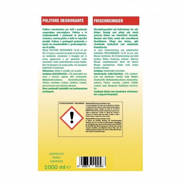 Frischreiniger, Duft-Seifenreiniger und Pflege für poröse Böden 24 x 1 Liter Flaschen, schnell trocknend, Hochkonzentrat