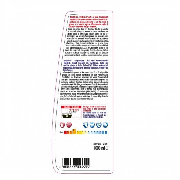 Saurer Allzweck-Essigreiniger 24 x 1 Liter Flasche für alle waschbaren und säurebeständigen Oberflächen und Sanitäreinrichtungen