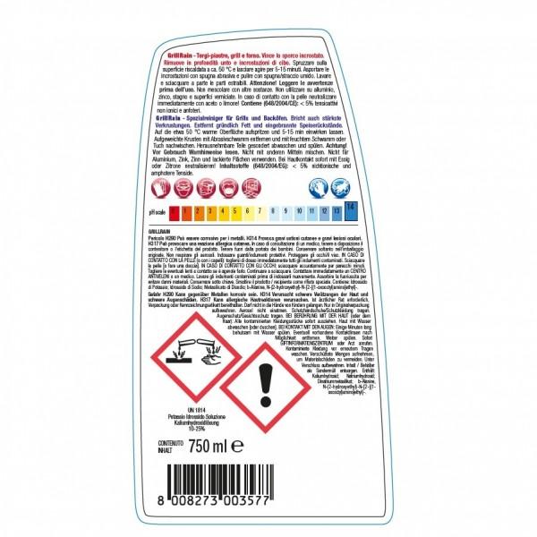 Alkalischer Spezialreiniger, 24 x 750 ml Sprühflasche, für Grill-, Koch-, Bratplatten und Backöfen, sehr ergiebig