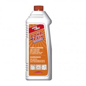 Alkalischer Profi-Spezialrohrreiniger, 24 x 1 Liter Flasche, entfernt Verstopfungen aus Seifenresten, Fett, Haaren