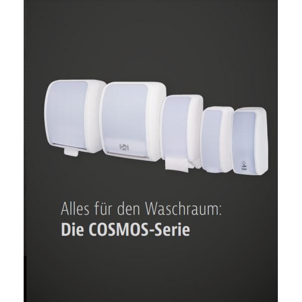 SET: Desinfektionsspender SENSOR, berührungslos Blanc Cosmos versch. Farben+Edelstahlhalterung mit Auffangschale