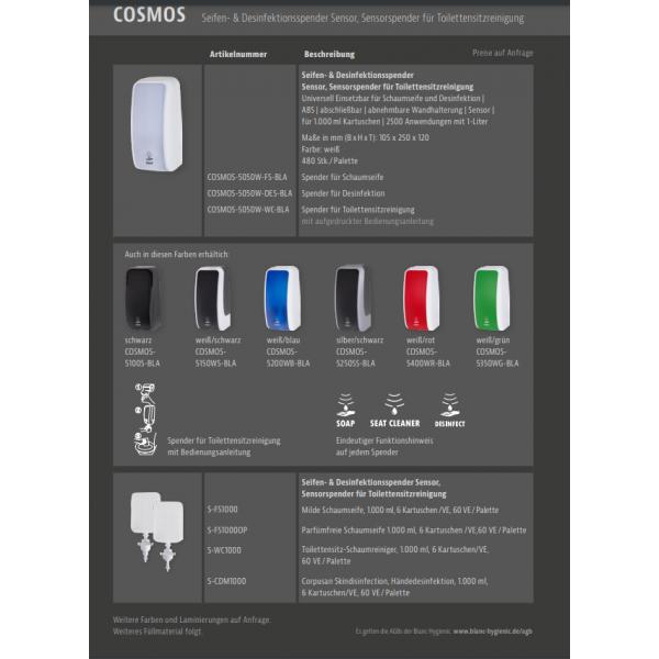 SET: Desinfektionsspender SENSOR Blanc Cosmos versch. Farben + Tischständer weiß +3x 1-Liter Hautdesinfektion