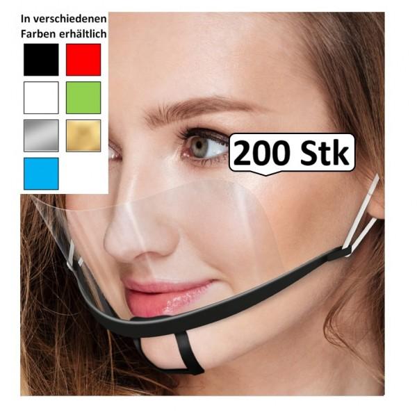 Mund Nasen Schild, Gesichtsschild, Gesichtsvisier, Face Shield farbig, 200 Stk., Mehrweg, optimale Sitz- und Passform