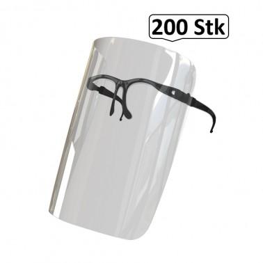 Brillen Schild, Gesichtsschild, Gesichtsvisier, Face Shield, 200 Stk., Mehrweg, optimale Sitz- und Passform