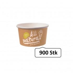 Eisbecher Zero Plastic 500ml, 900 Stück, recycelbar, aus natürlichem Papier ohne Kunststoffbeschichtung