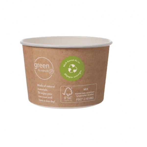 Eisbecher Zero Plastic 140ml, 2.000 Stück, recycelbar, aus natürlichem Papier ohne Kunststoffbeschichtung