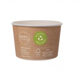 Eisbecher Zero Plastic 300ml, 1.080 Stück, recycelbar, aus natürlichem Papier ohne Kunststoffbeschichtung