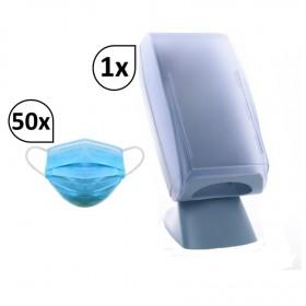 Mobiler Maskenspender inkl. 50 Stück OP-Masken Typ IIR, frei aufstellbar, stabil und robust