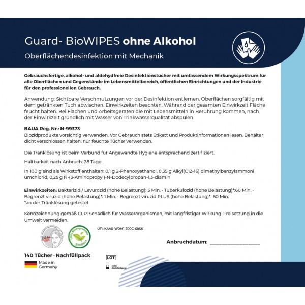 Desinfektionsmitteltücher im Eimer, 700 Tücher getränkt in Desinfektion alkoholfrei (1 Eimer inkl. 5 Rollen je 140 Tücher)