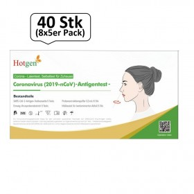 COVID-19-nCoV Antigen Schnelltest Nasenabstrich, 40 Stk (8x5er Pack), Coronatest für Laienanwender, BfArM gelistet - Hotgen