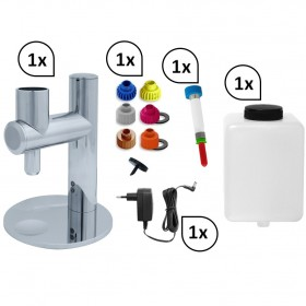 SET: Mobiler Messing verchromter Hygienespender SENSOR frei befüllbar bis 1.000 ml inklusive Leerkartusche und Netztrafo