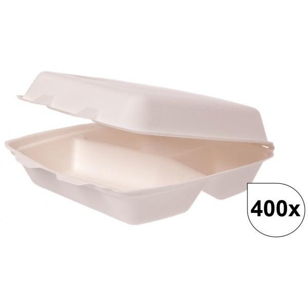 Menüboxen klein 3-geteilt aus Bagasse 400 Stück, to go, take away, biologisch abbaubar, umweltfreundlich