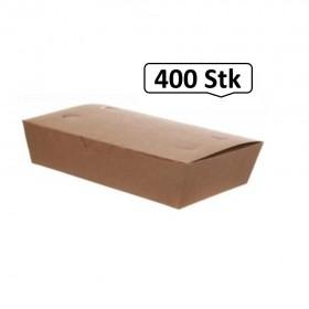 Meal-Box 800ml 400 Stk, to go, take away, biologisch abbaubar, natürliches Design, weiße Innenschicht