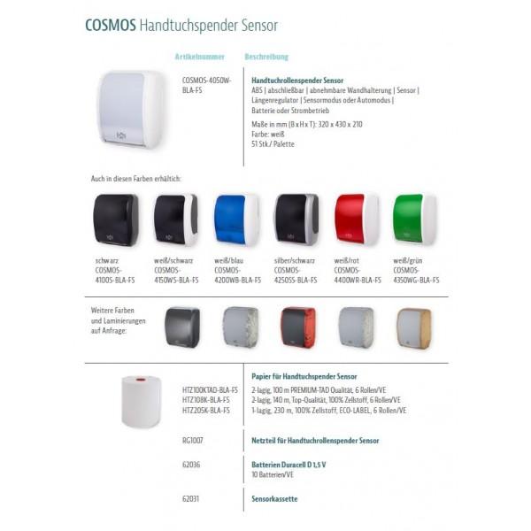 SET: Handtuchrollenspender SENSOR, berührungslos, Blanc Cosmos verschied. Farben + 6 Handtuchrollen PREMIUM TAD - PRODUKTSET