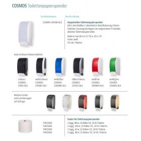 SET Toilettenpapierspender Doppelrollen Blanc Cosmos verschied.Farben + 32 Toilettenpapierrollen Long Life 3L - PRODUKTSET