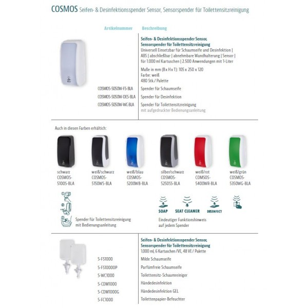 SET: Desinfektionsspender SENSOR, berührungslos Blanc Cosmos 7 Farben+3x 1-L Haut- und Händedesinfektion - PRODUKTSET