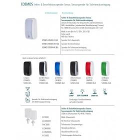 SET Desinfektionsspender SENSOR Cosmos +Bodenständer Edelstahl +Infotafel +3x 1-Liter Hautdesinfektion +prof. Hygieneplan