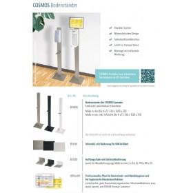 SET: Desinfektionsspender SENSOR Cosmos +Bodenständer Edelstahl +Infotafel +3x 1-Liter Hautdesinfektion +prof. Hygieneplan