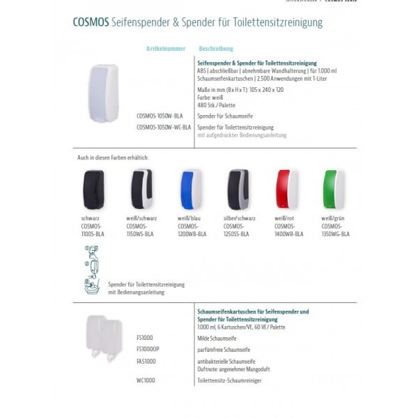 SENSOR Spender für Toilettensitzreinigung bis zu 2.500 Anwendungen je 1-Liter, blitzschneller Kartuschenwechsel, Blanc Cosmos